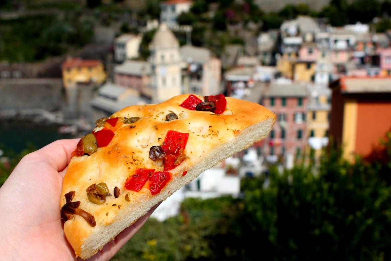 Olive focaccia in Vernazza