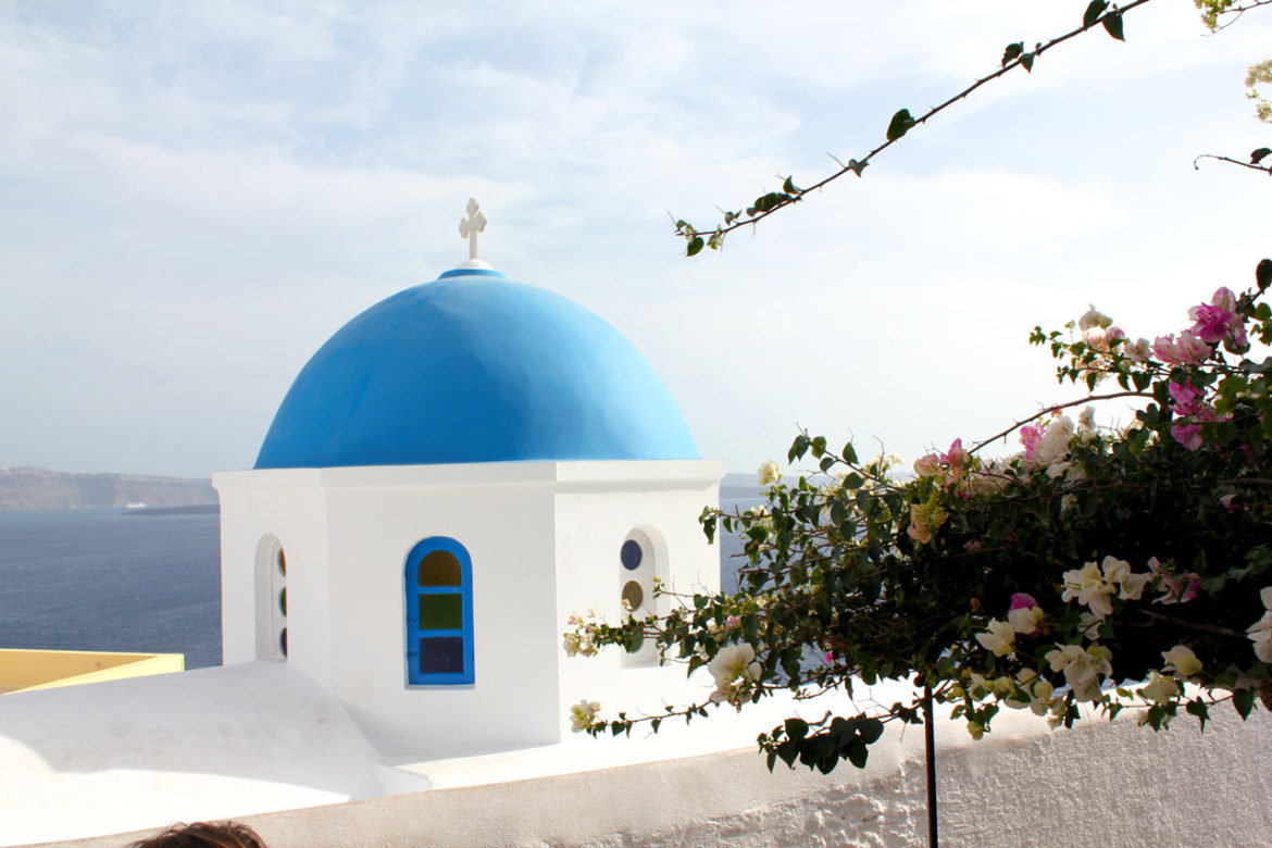 Flowers and Dome in Oia