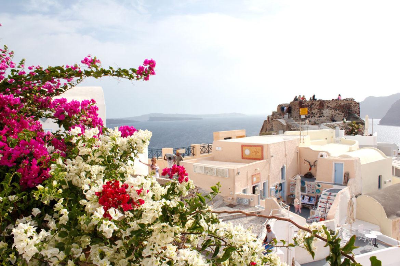Oia and flowers, Santorini