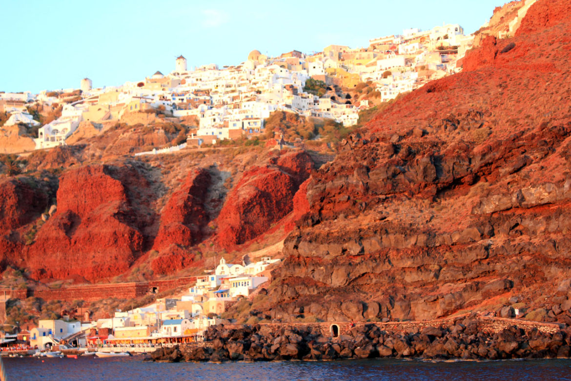 Oia red sunset