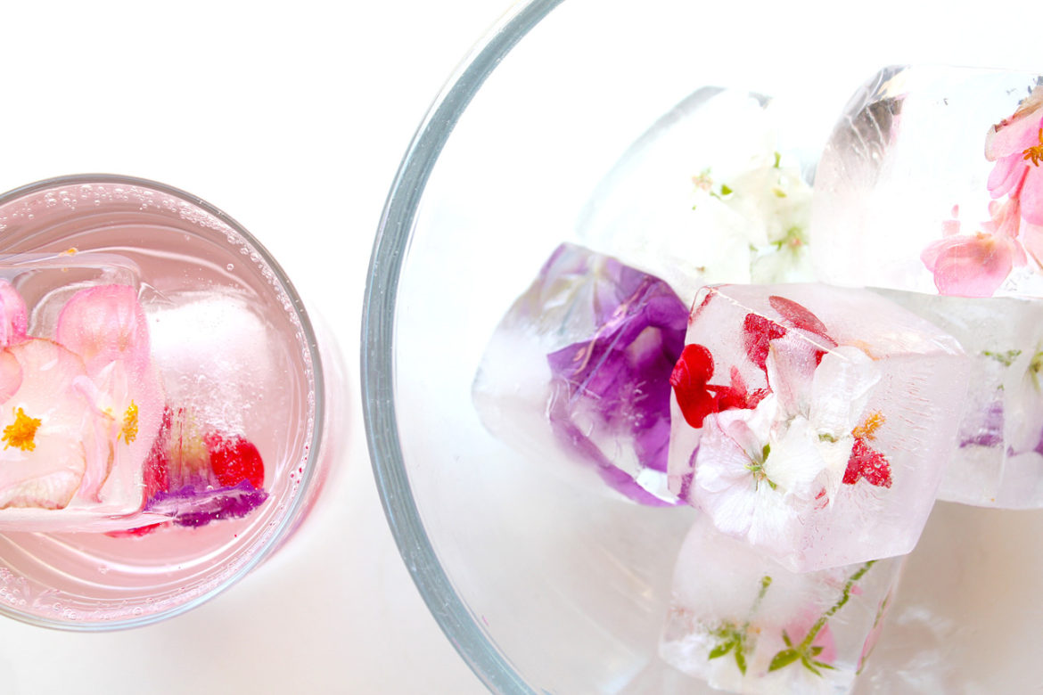 flowers in drinks