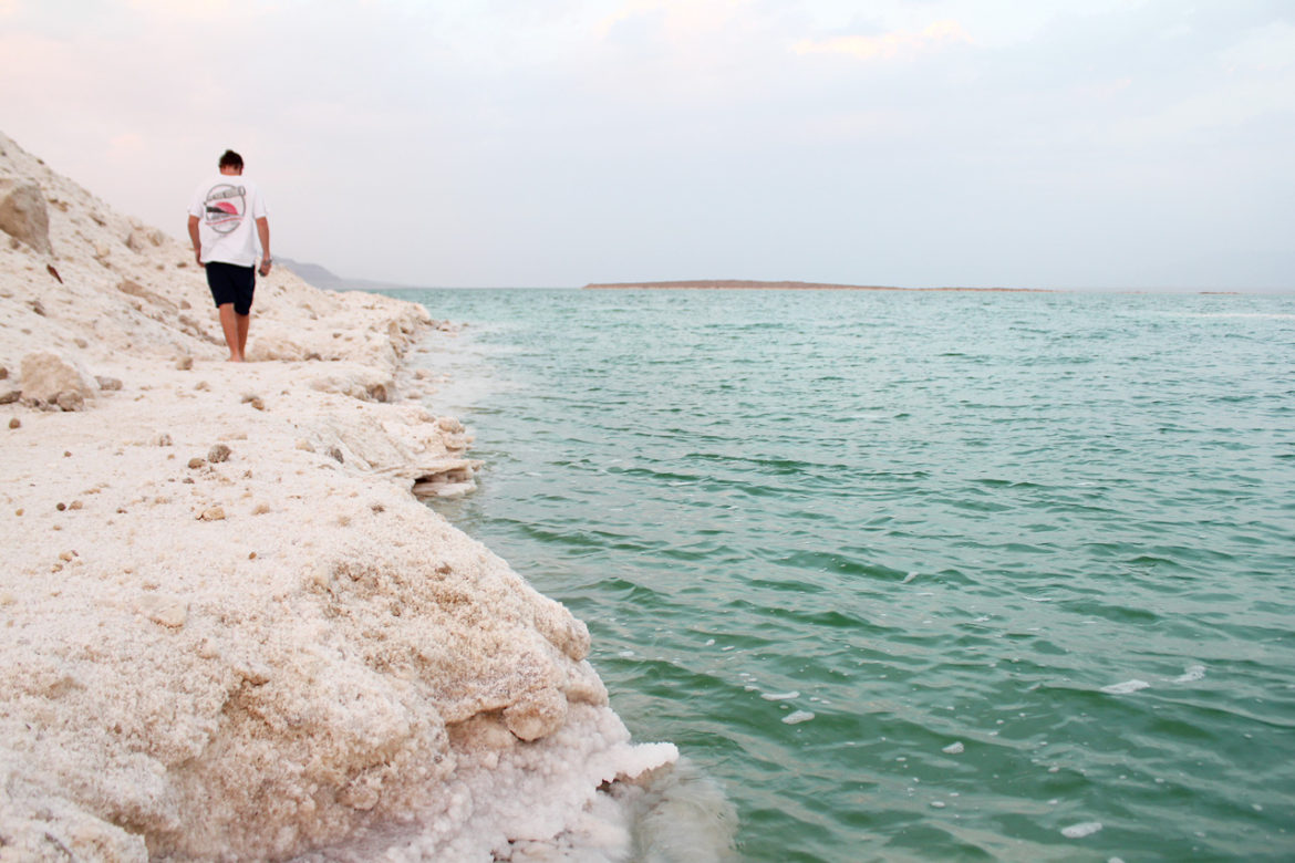 The water's edge on the Dead Sea