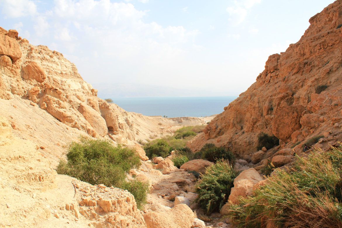 View from Ein Gedi down to the Dead Sea