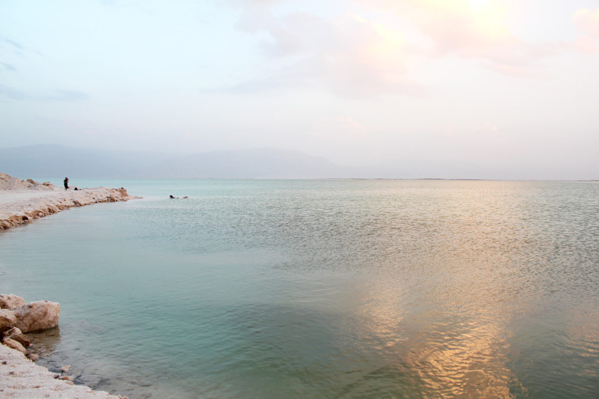 dead sea horizon at sunset