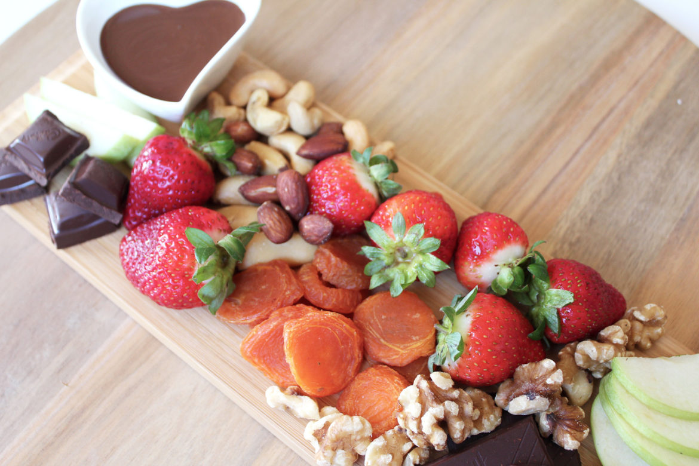 dessert platter with dark chocolate sauce