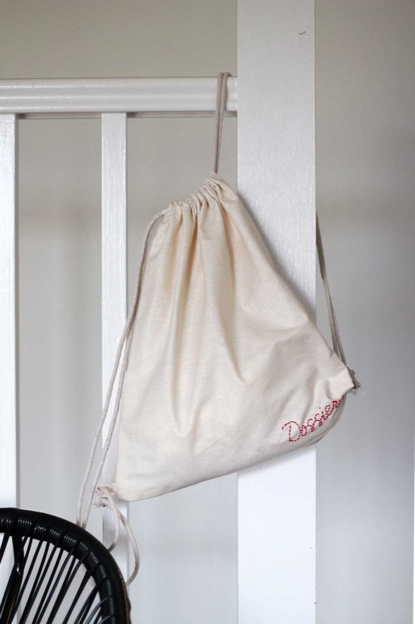 DIY calico drawstring bag hanging