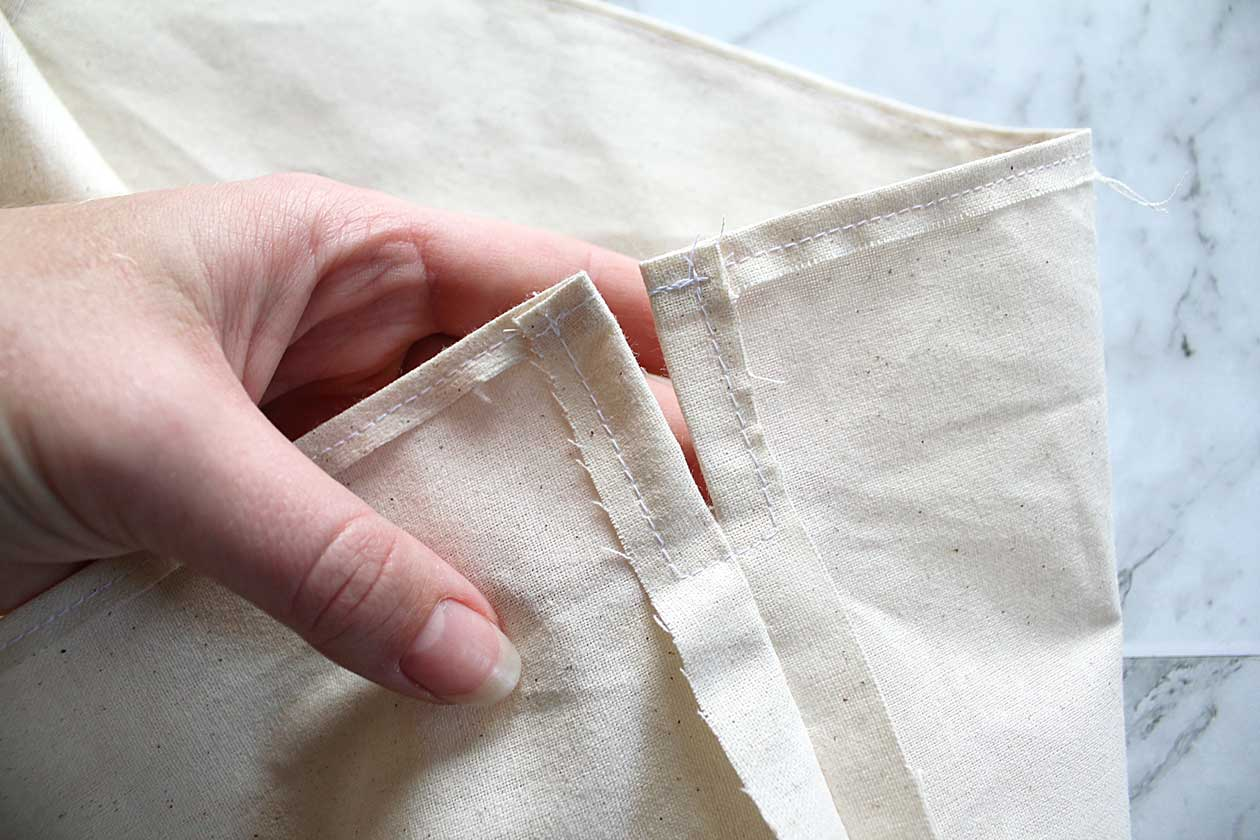 Hemming a drawstring bag