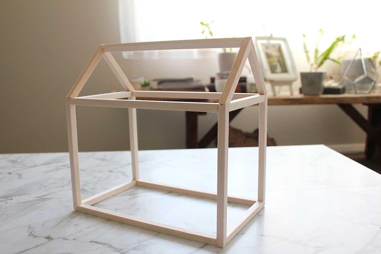 The balsa frame of the mini greenhouse