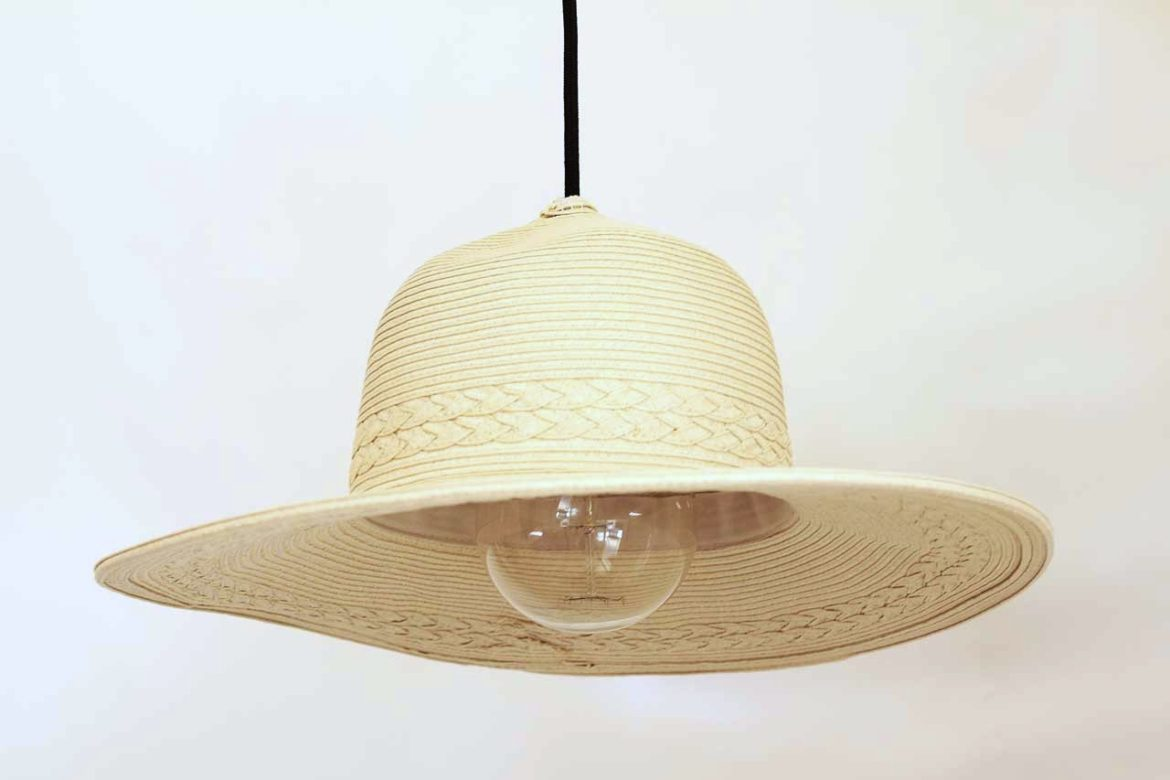 An edison bulb in my straw hat feature light