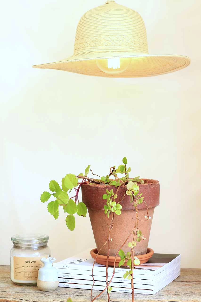 Use a hanging light kit and straw hat to make this!