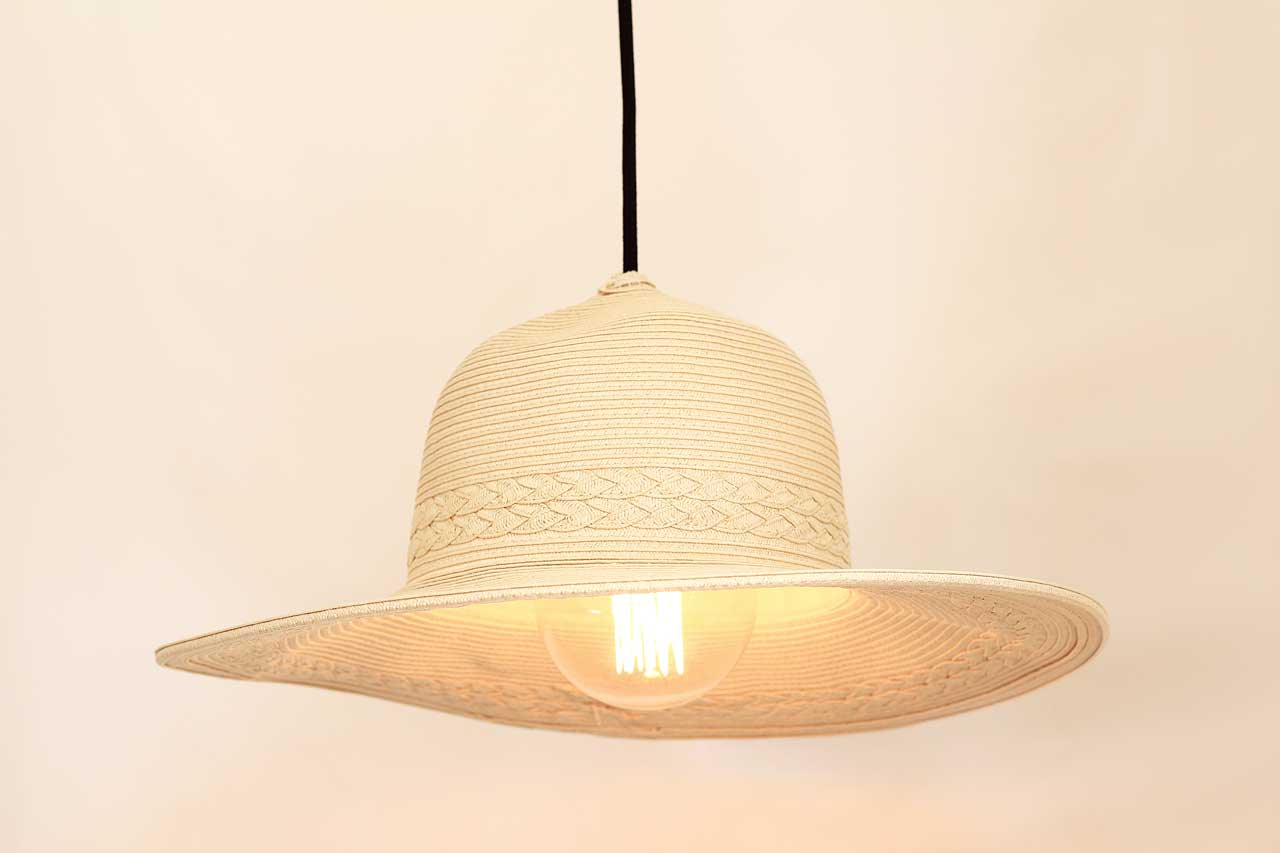 DIY Straw Hat into a Lamp Shade