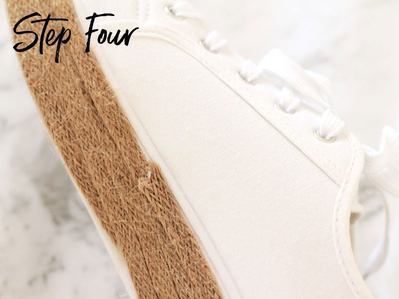 DIY sneaker espadrilles, step four | Dossier Blog