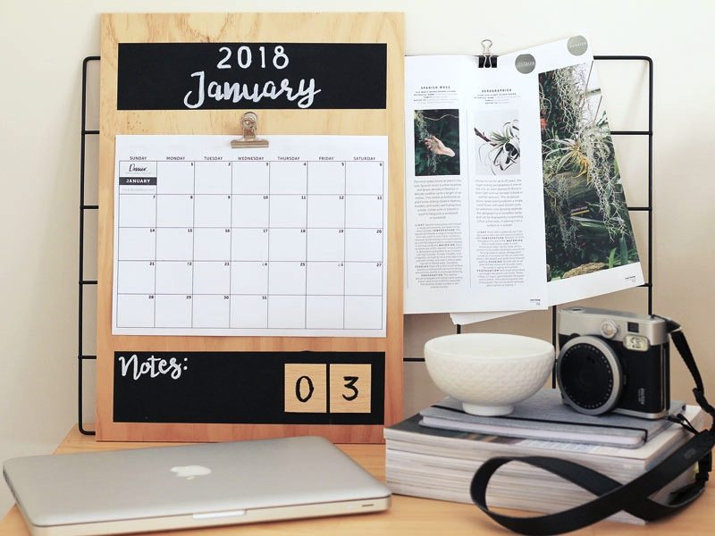 DIY Plywood Calendar for 2018 | Dossier Blog