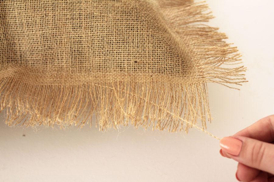 How to create a fringe on the burlap cushion