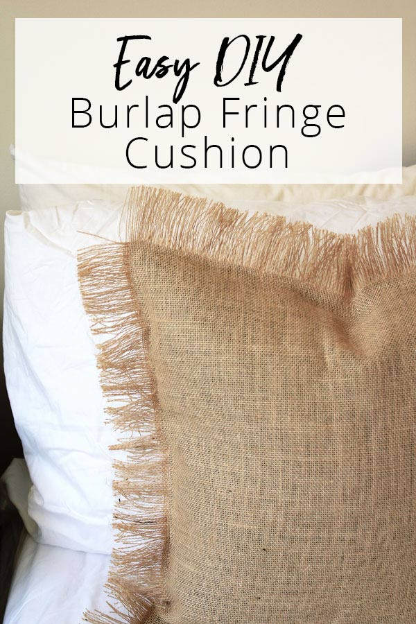 Easy DIY Burlap Fringe Cushion | Dossier Blog