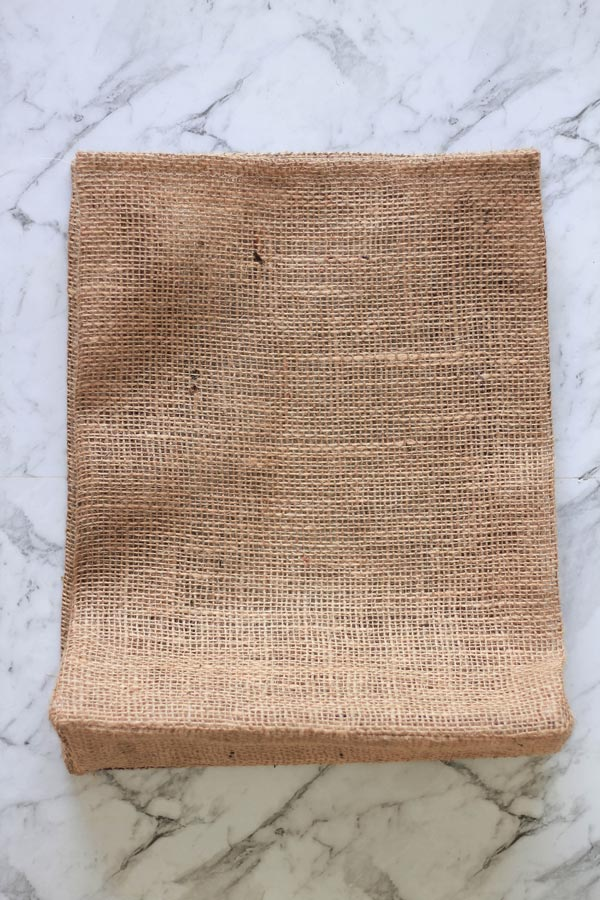 Burlap tote, hemmed and ironed. Now for the straps! | Dossier Blog