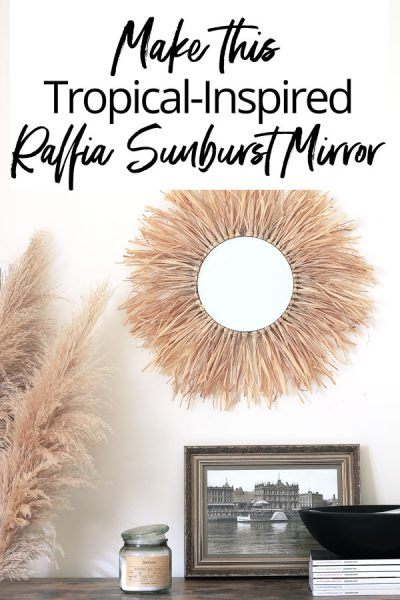 Boho vibes, island feels and a take on the African juju hat - this round mirror DIY has it all!