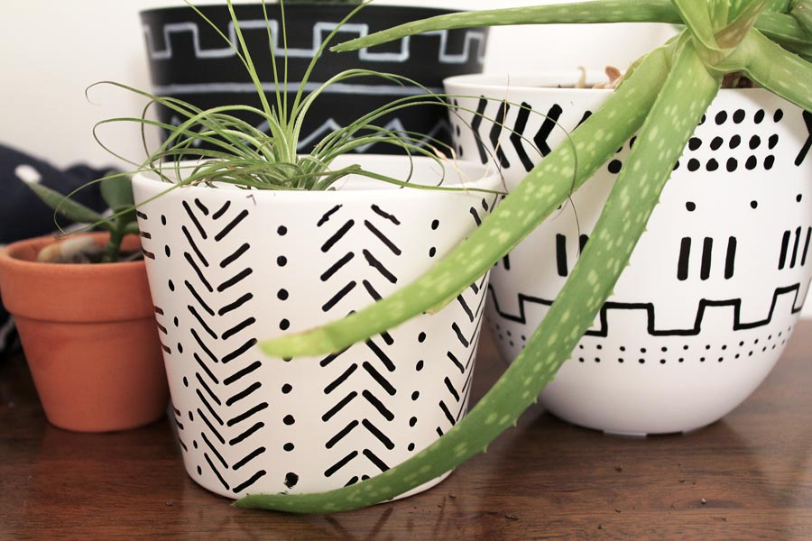 Easy pot update: Mudcloth inspired planters | Dossier Blog