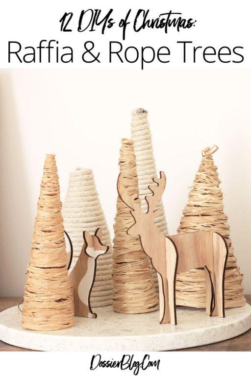 12 DIYs of Christmas - Raffia & Rope wrapped Trees | Dossier Blog
