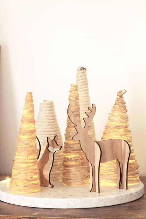 Raffia and Rope Christmas Trees scene with lights | Dossier Blog